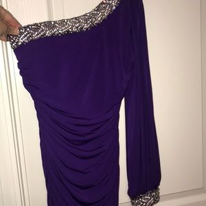 Purple One Arm Homecoming Dress